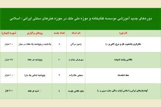 آغاز ثبت نام تابستان برای دورههای آموزشی کتابخانه و موزه ملی ملک در حوزه هنرهای سنتی ایرانی- اسلامی/ به پیوست جدول
