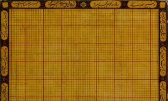 «لوح رسم معماری» متعلق به دوره قاجار به همراه کتیبه فتوتنامه معماری به نمایش درمیآید