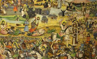 «پرده واقعه عاشورا» اثر تاریخی حسین قوللر آقاسی در کتابخانه و موزه ملی ملک به نمایش درآمد